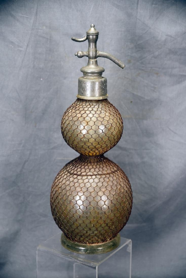 Large Double Wire Mesh Covered Seltzer Bottle