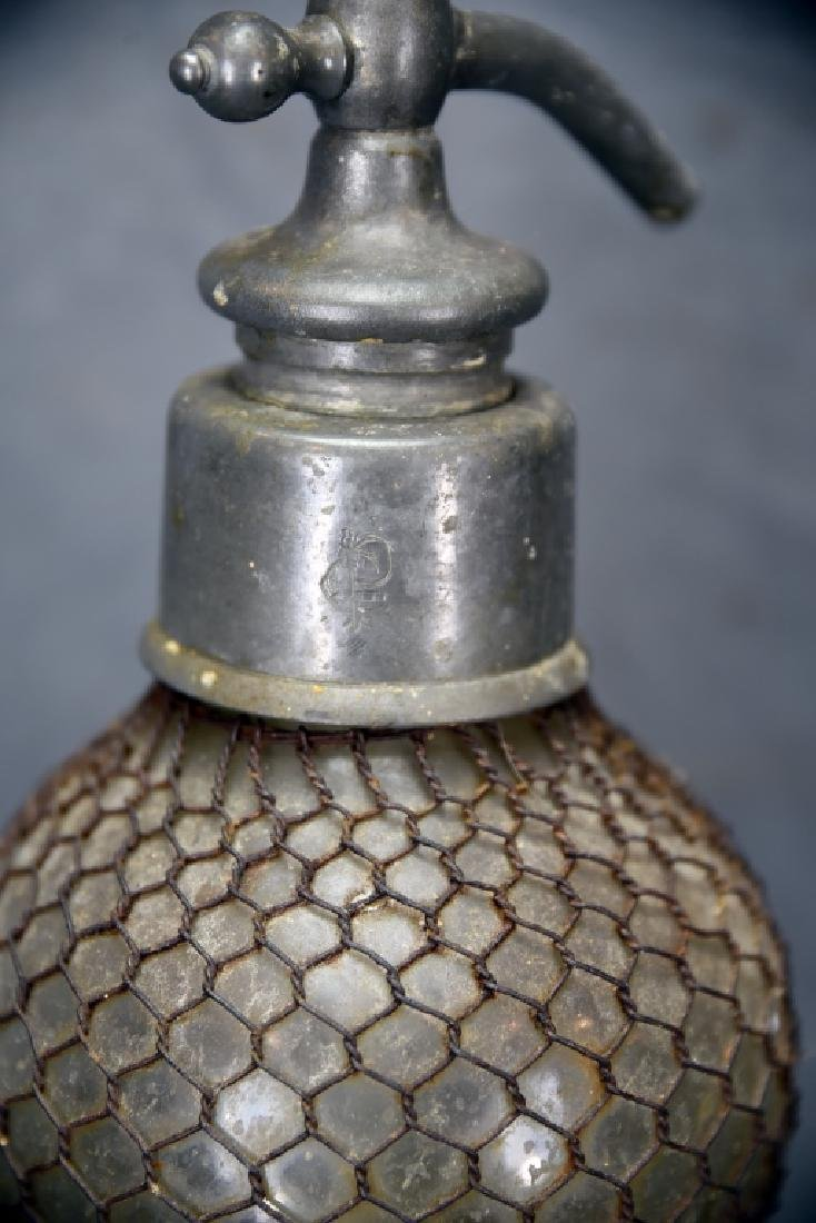 Large Double Wire Mesh Covered Seltzer Bottle - 5
