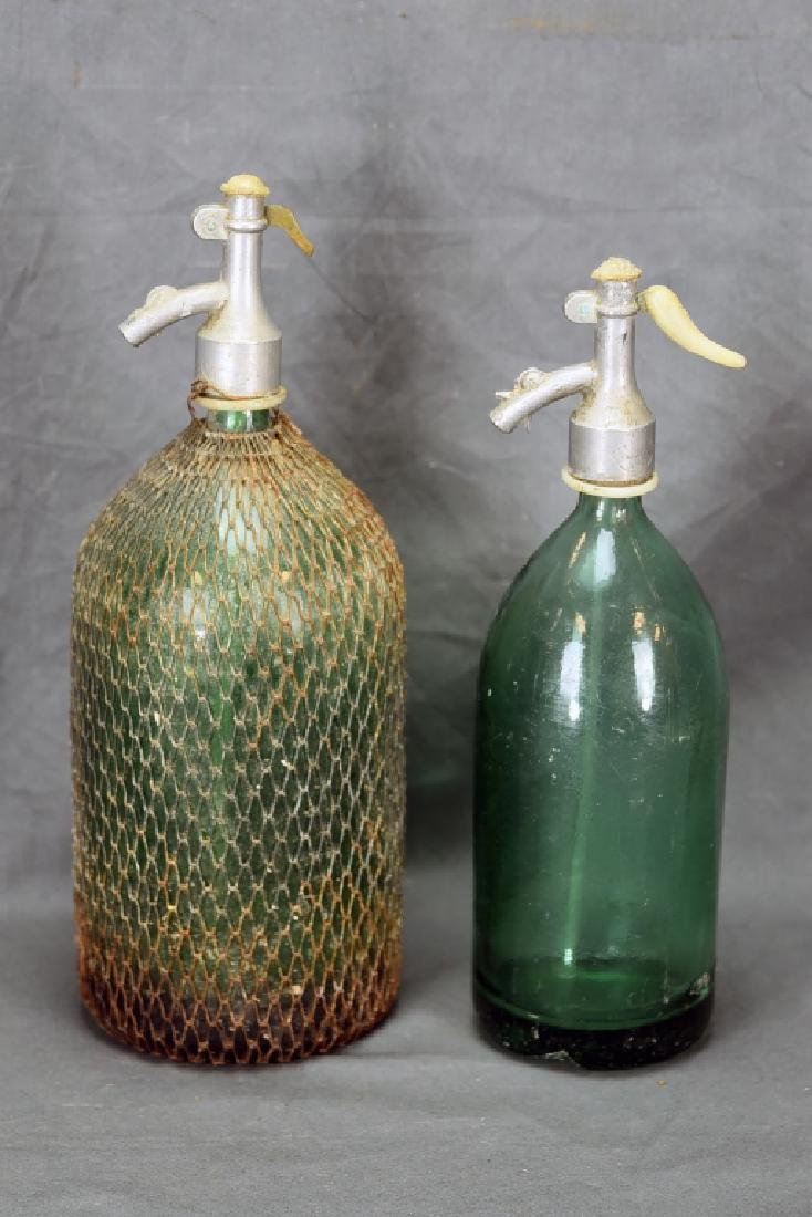 2 Green Seltzer Bottles