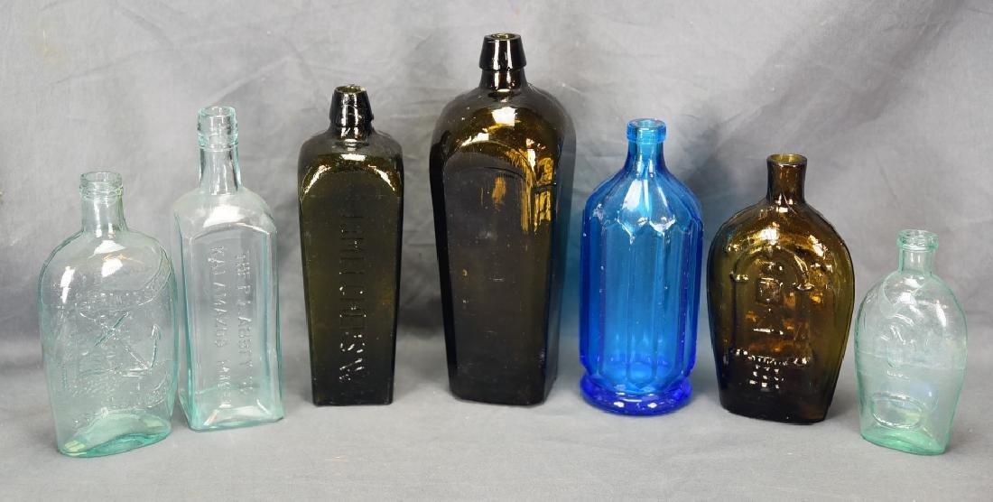 7 Older Blown Glass Bottles
