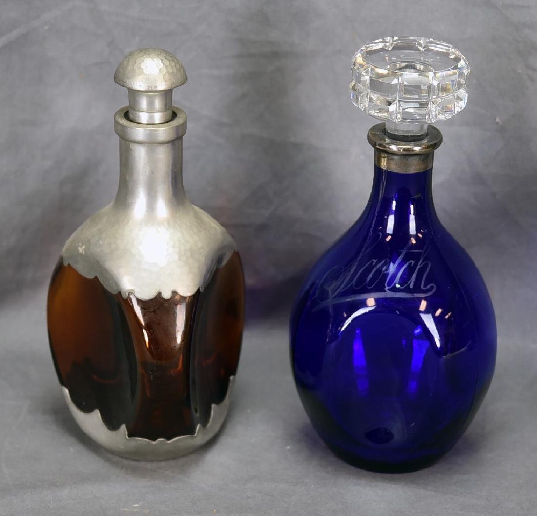 2 vintage Bar Bottles, Cobalt Scotch Decanter