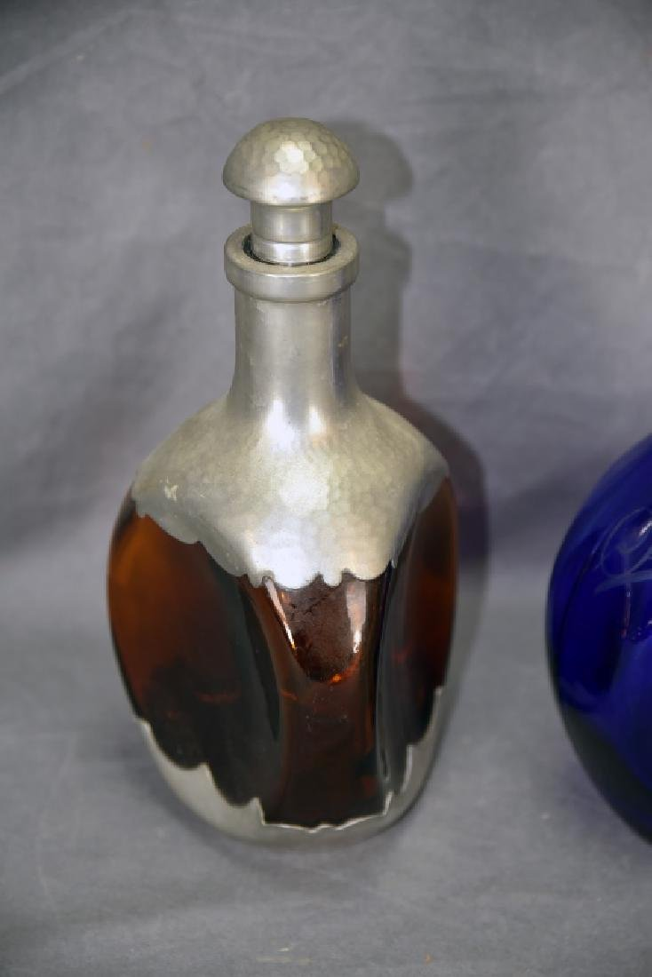 2 vintage Bar Bottles, Cobalt Scotch Decanter - 3