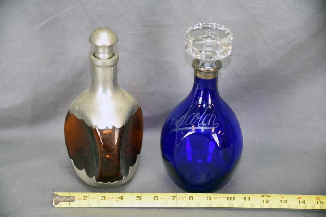 2 vintage Bar Bottles, Cobalt Scotch Decanter - 4