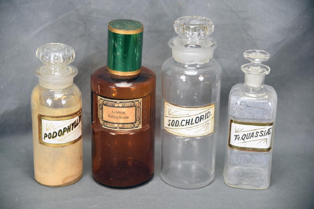 4 Antique Apothecary Bottles