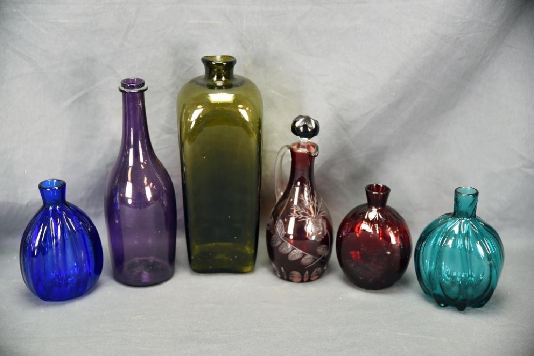 6 Newer Blown Glass Bottles