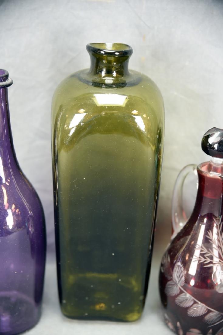6 Newer Blown Glass Bottles - 4