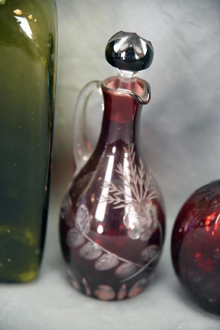 6 Newer Blown Glass Bottles - 5
