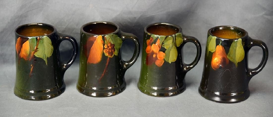 4 Unmarked Weller/ Owens Fruit Tankards
