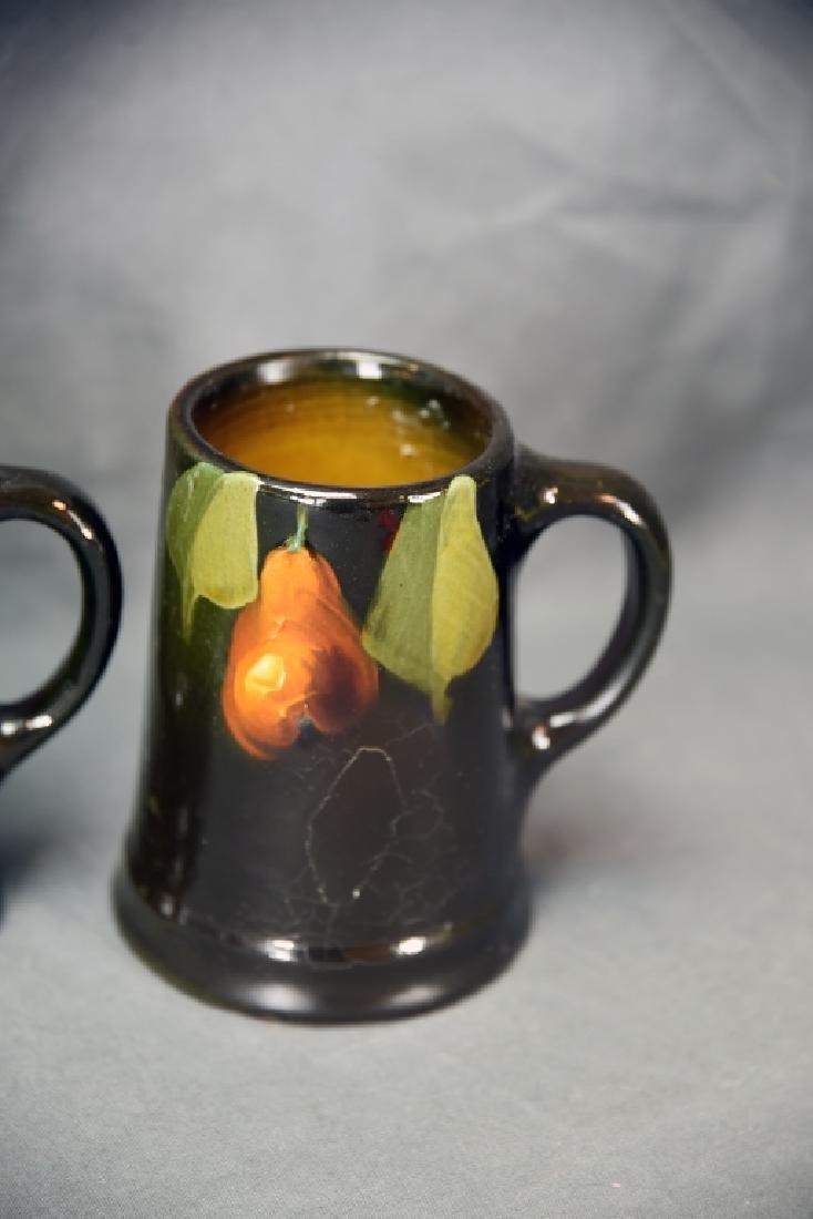 4 Unmarked Weller/ Owens Fruit Tankards - 5