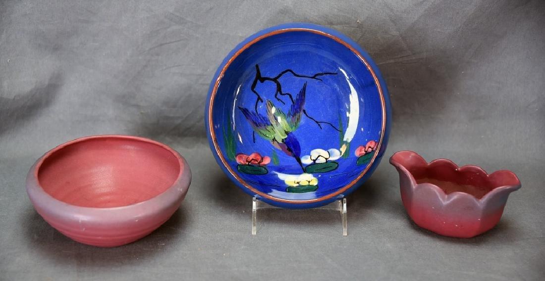 Torquay Kingfisher Bowl, 2 Van Briggle Pieces