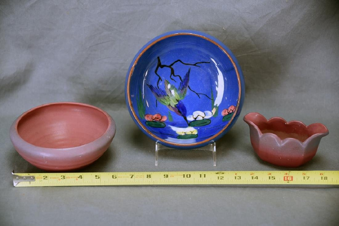 Torquay Kingfisher Bowl, 2 Van Briggle Pieces - 2