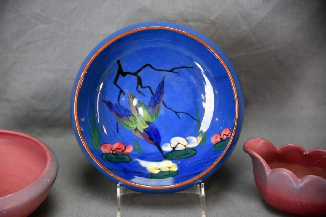 Torquay Kingfisher Bowl, 2 Van Briggle Pieces - 4