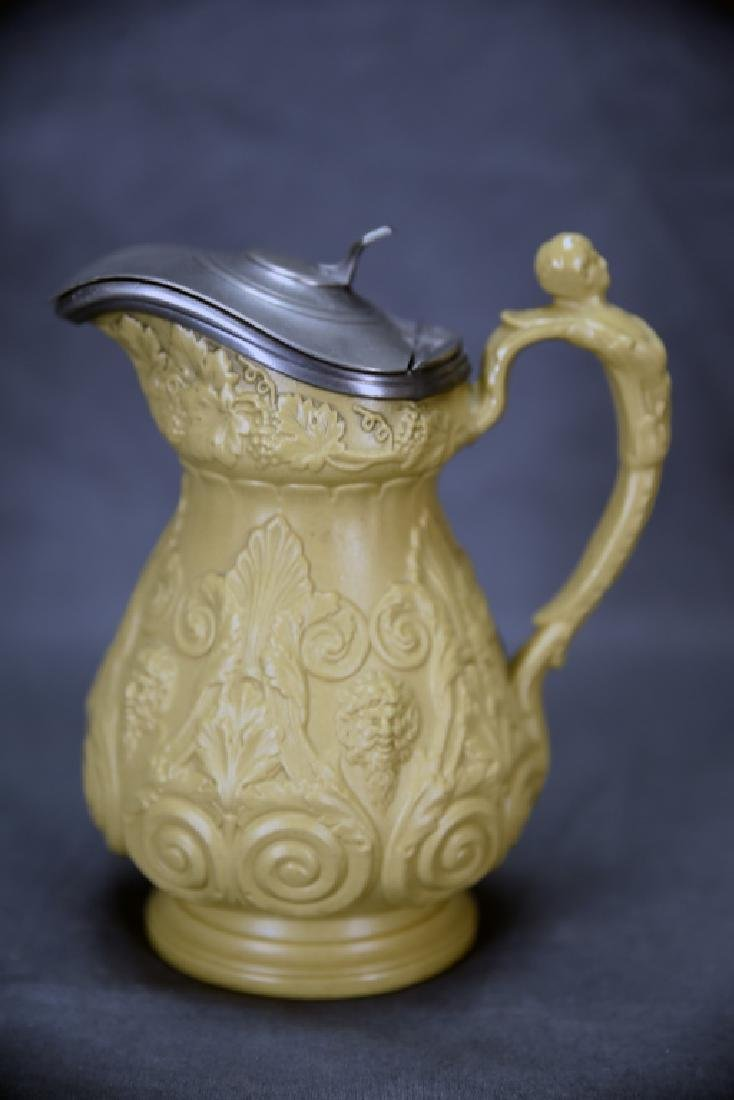 19th C. Marked Ridgeway Syrup Pitcher, Pewter Lid - 4