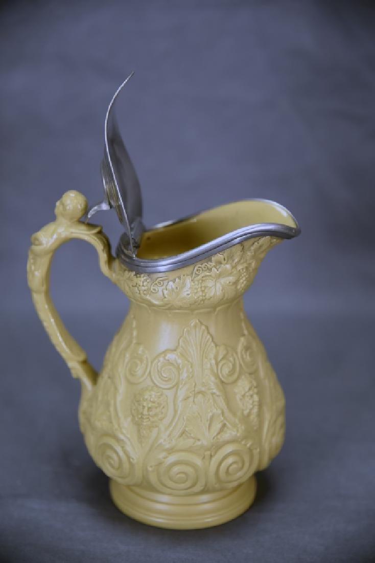 19th C. Marked Ridgeway Syrup Pitcher, Pewter Lid - 5