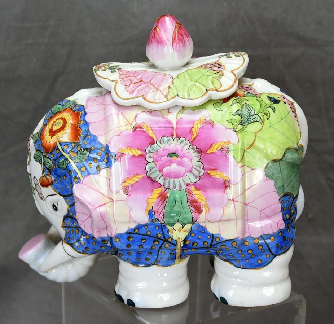 Vintage Elephant Chinese Tobbaco Leaf Covered Jar