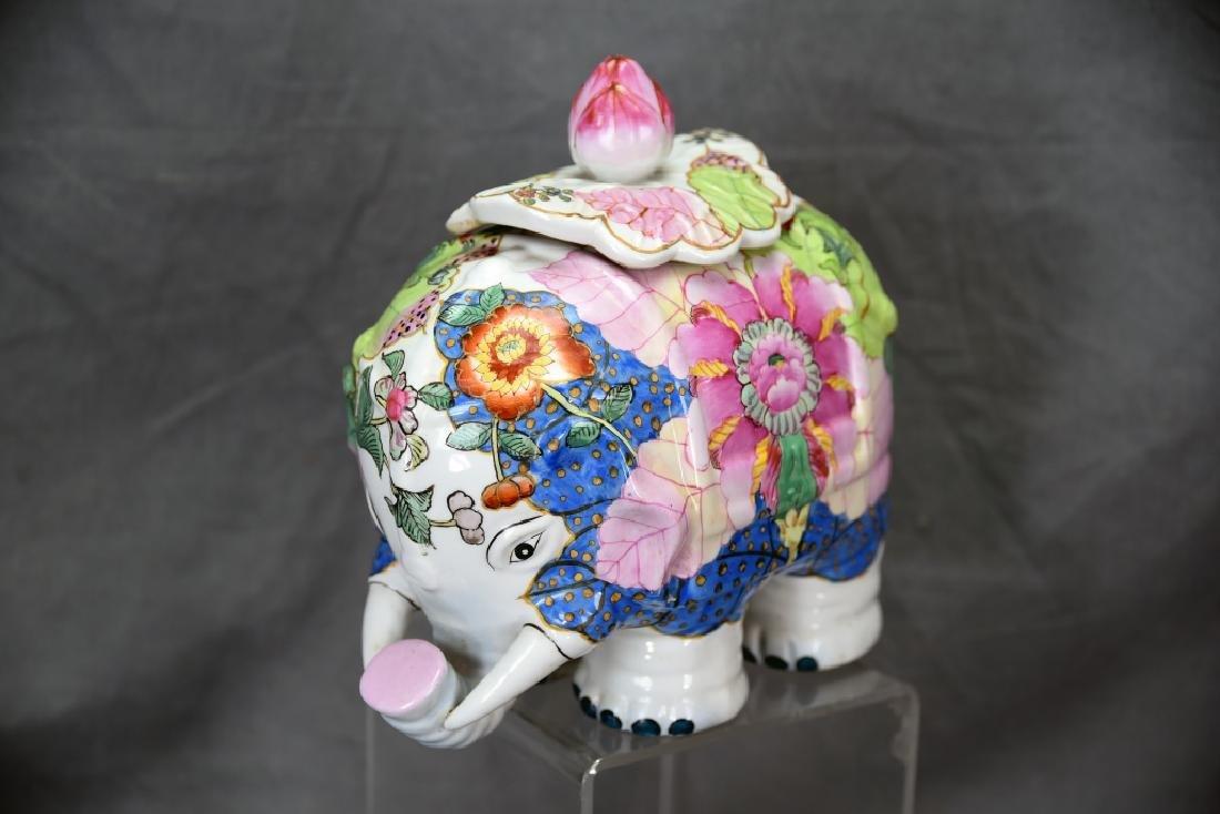 Vintage Elephant Chinese Tobbaco Leaf Covered Jar - 2