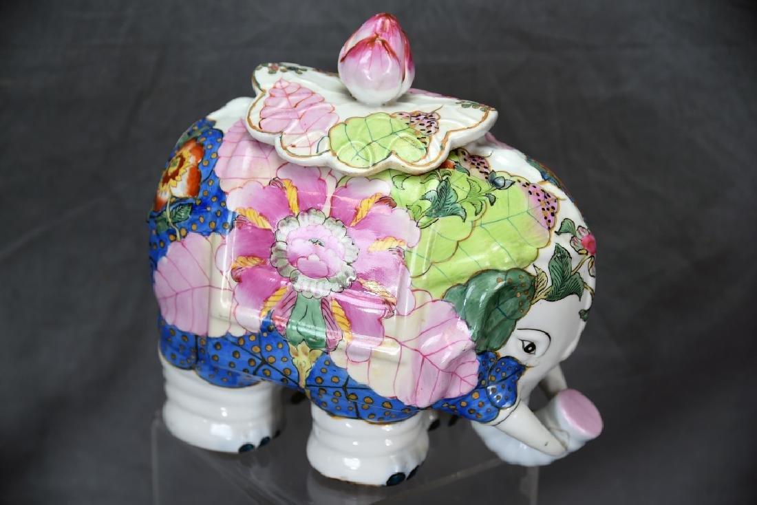 Vintage Elephant Chinese Tobbaco Leaf Covered Jar - 3