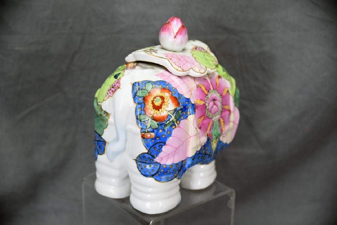 Vintage Elephant Chinese Tobbaco Leaf Covered Jar - 4