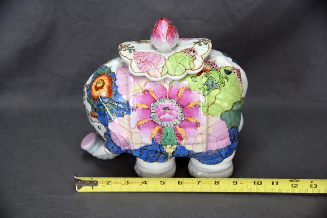Vintage Elephant Chinese Tobbaco Leaf Covered Jar - 5