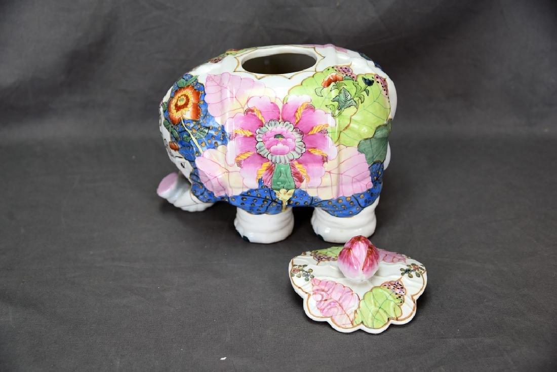 Vintage Elephant Chinese Tobbaco Leaf Covered Jar - 6
