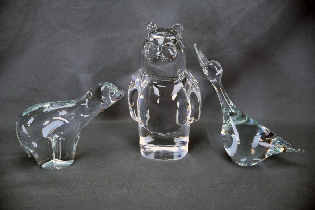 3 Crystal Animals, 2 Bears, Duck, Orrefors
