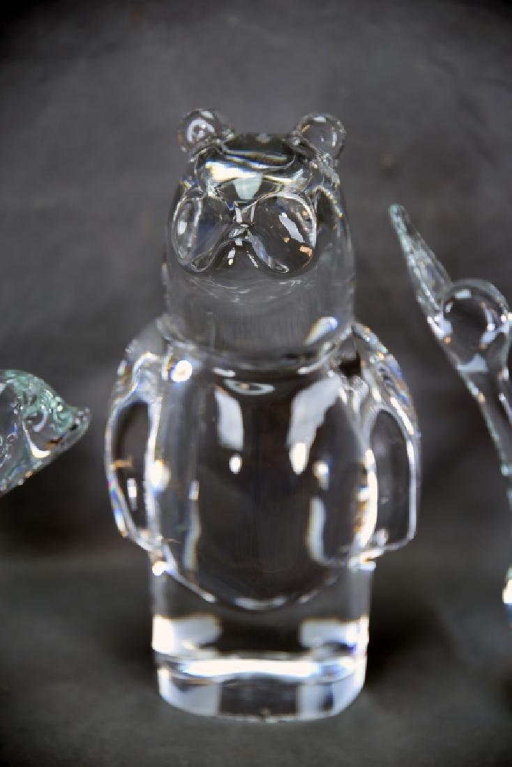 3 Crystal Animals, 2 Bears, Duck, Orrefors - 3
