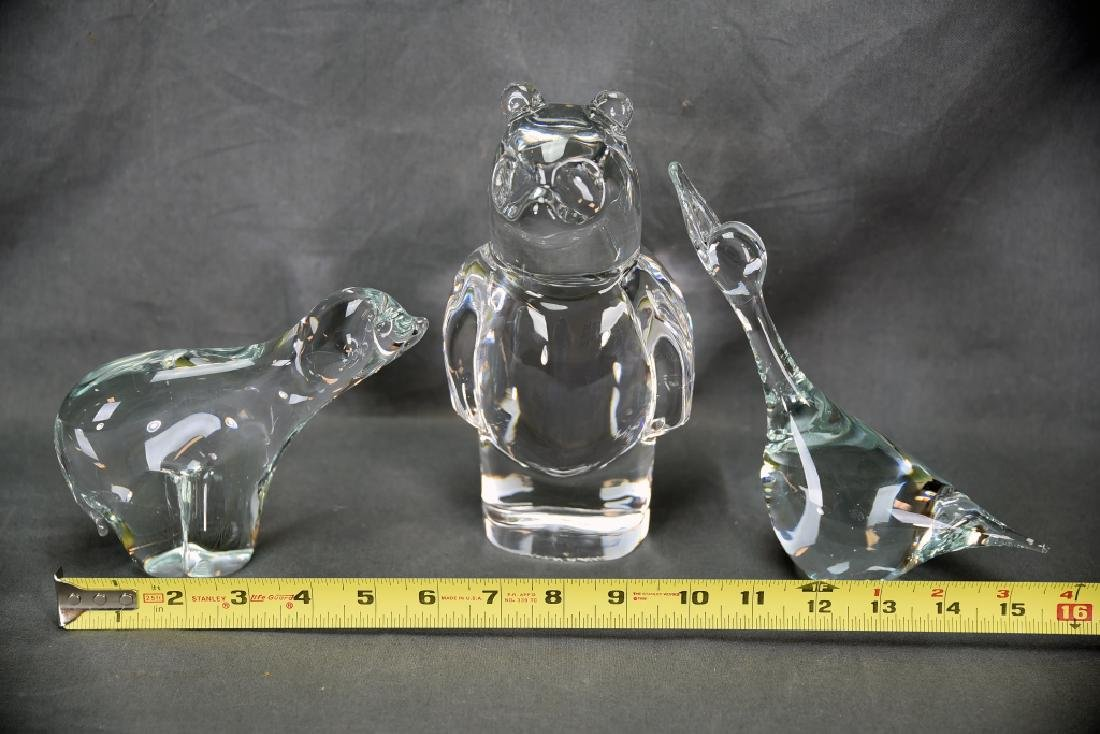 3 Crystal Animals, 2 Bears, Duck, Orrefors - 5