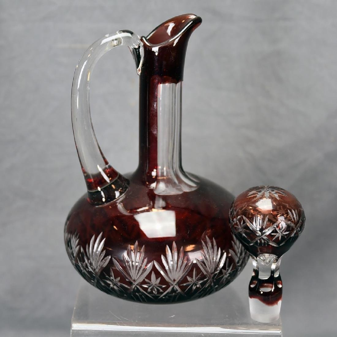 Ruby Cut to Clear Crystal Decanter - 3