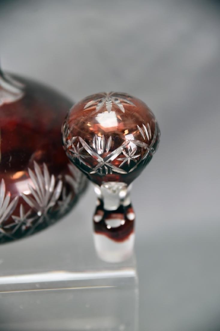 Ruby Cut to Clear Crystal Decanter - 4