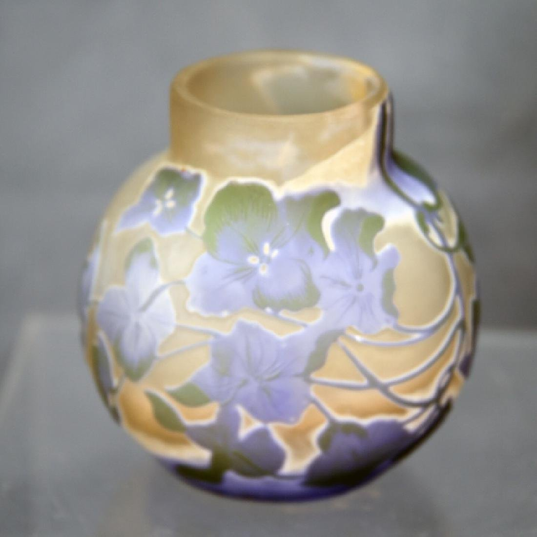Cameo Glass Vase Signed Galle Lavender Floral