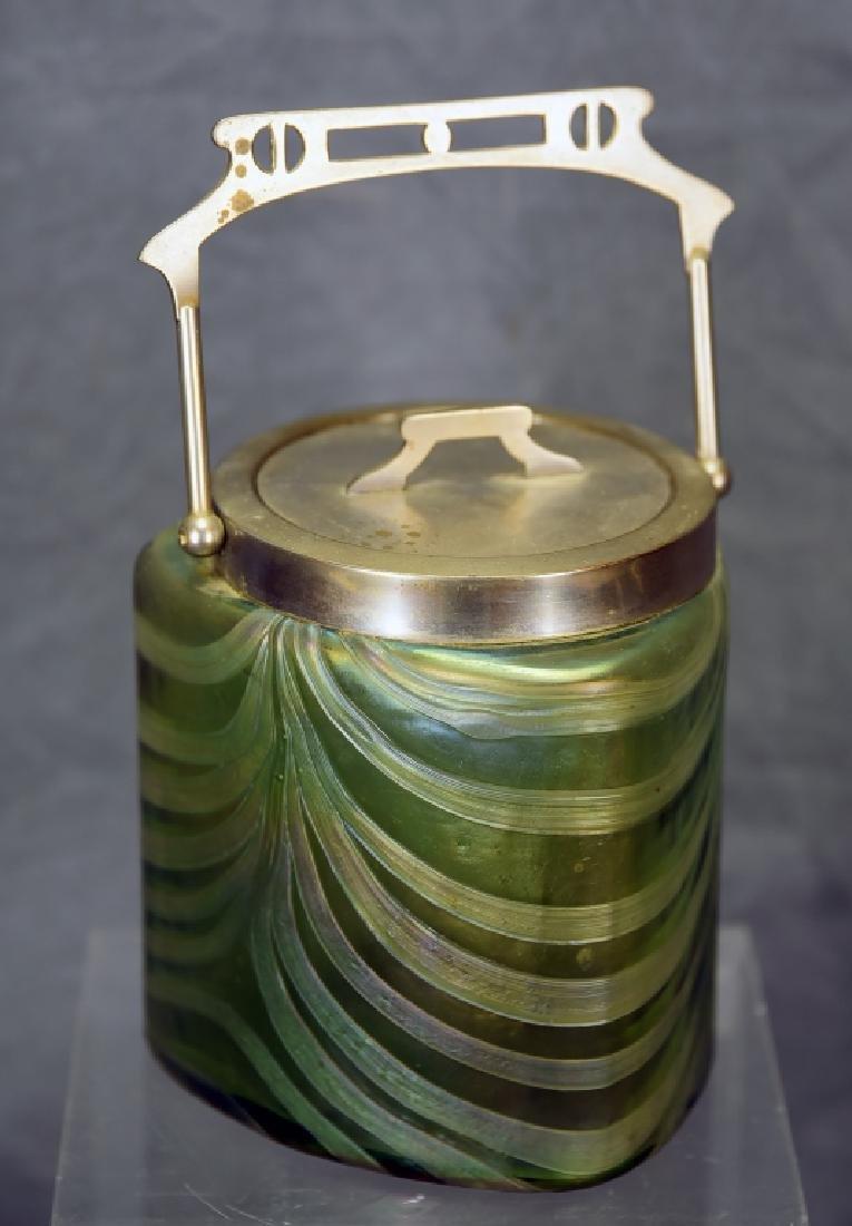 Art Nouveau Irridescent Glass Biscuit Barrel
