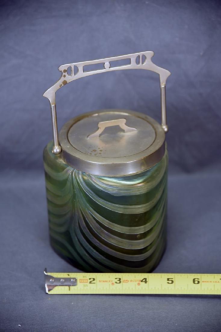 Art Nouveau Irridescent Glass Biscuit Barrel - 2