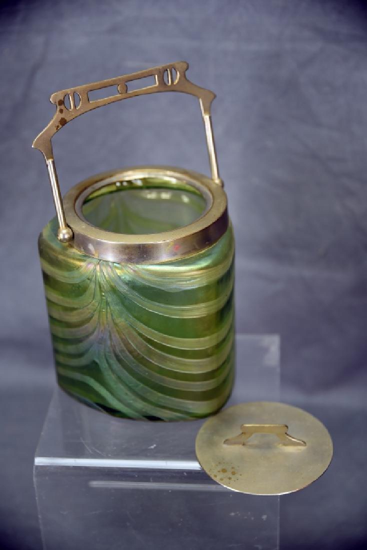 Art Nouveau Irridescent Glass Biscuit Barrel - 5