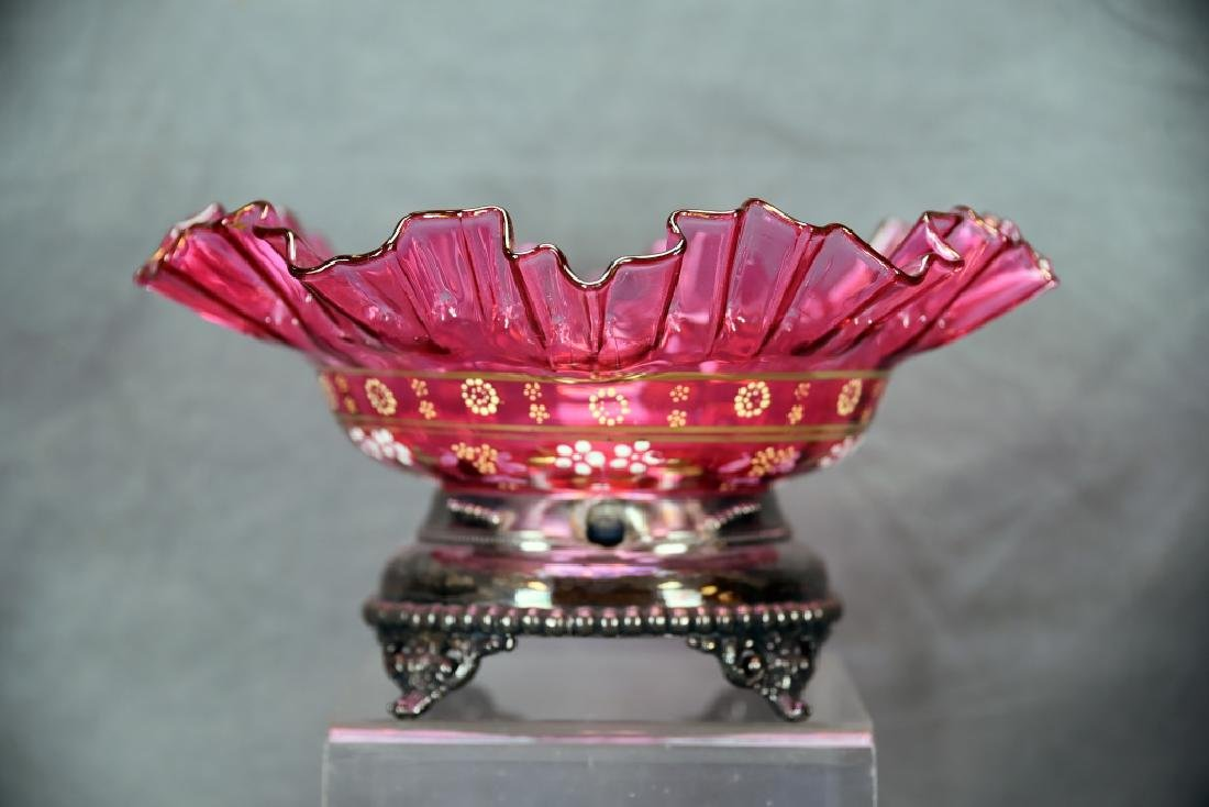 Victorian Ruffled Decorated Cranberry Bowl w/Stand - 3