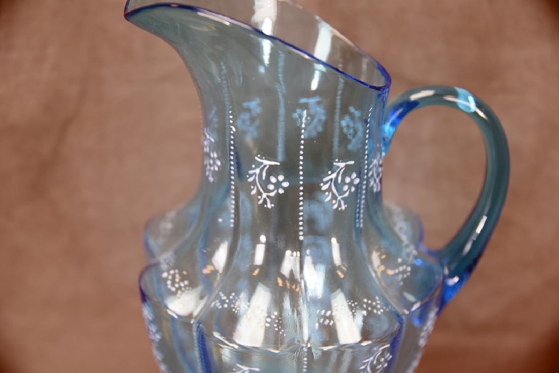 Victorian Blue Glass Pitcher Enameled Flowers - 3