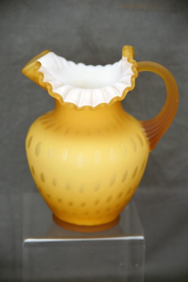 Gold Cased Satin Glass Coin Dot Ruffled Pitcher