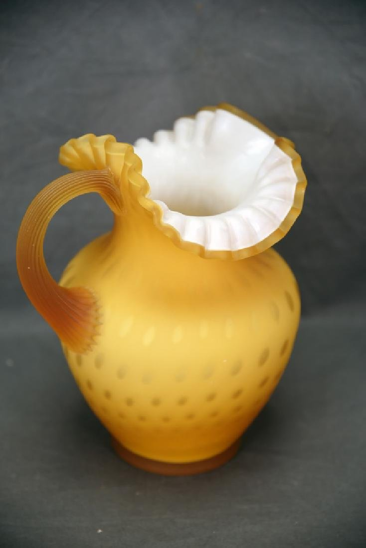 Gold Cased Satin Glass Coin Dot Ruffled Pitcher - 3