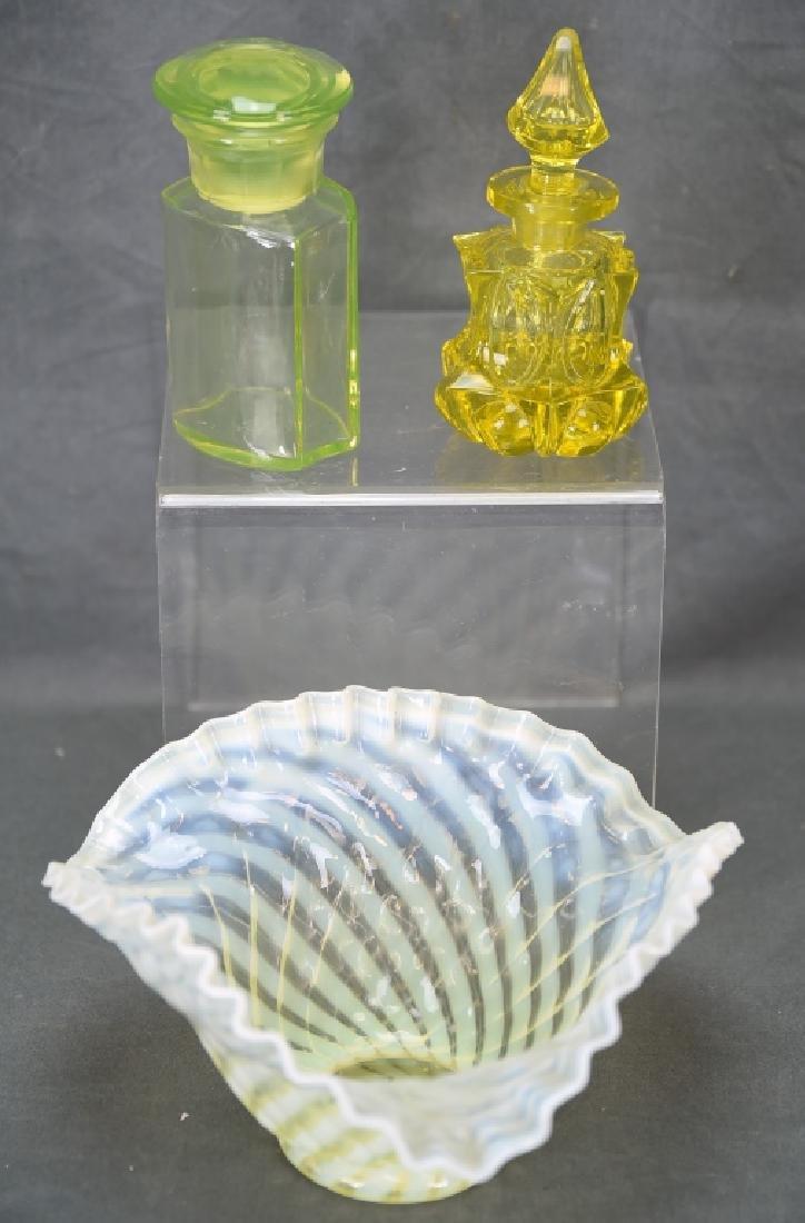 3 Pcs Yellow Victorian Glass, Perfume, Dresser Jar