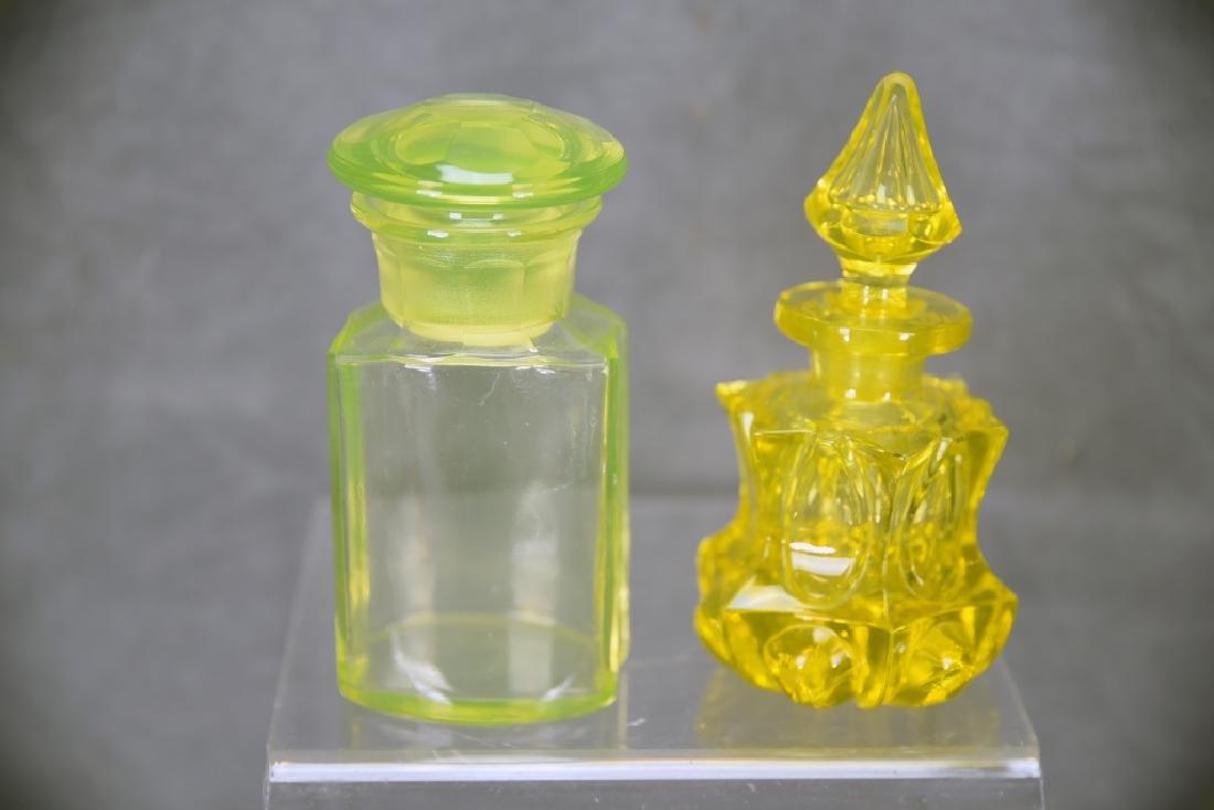 3 Pcs Yellow Victorian Glass, Perfume, Dresser Jar - 5