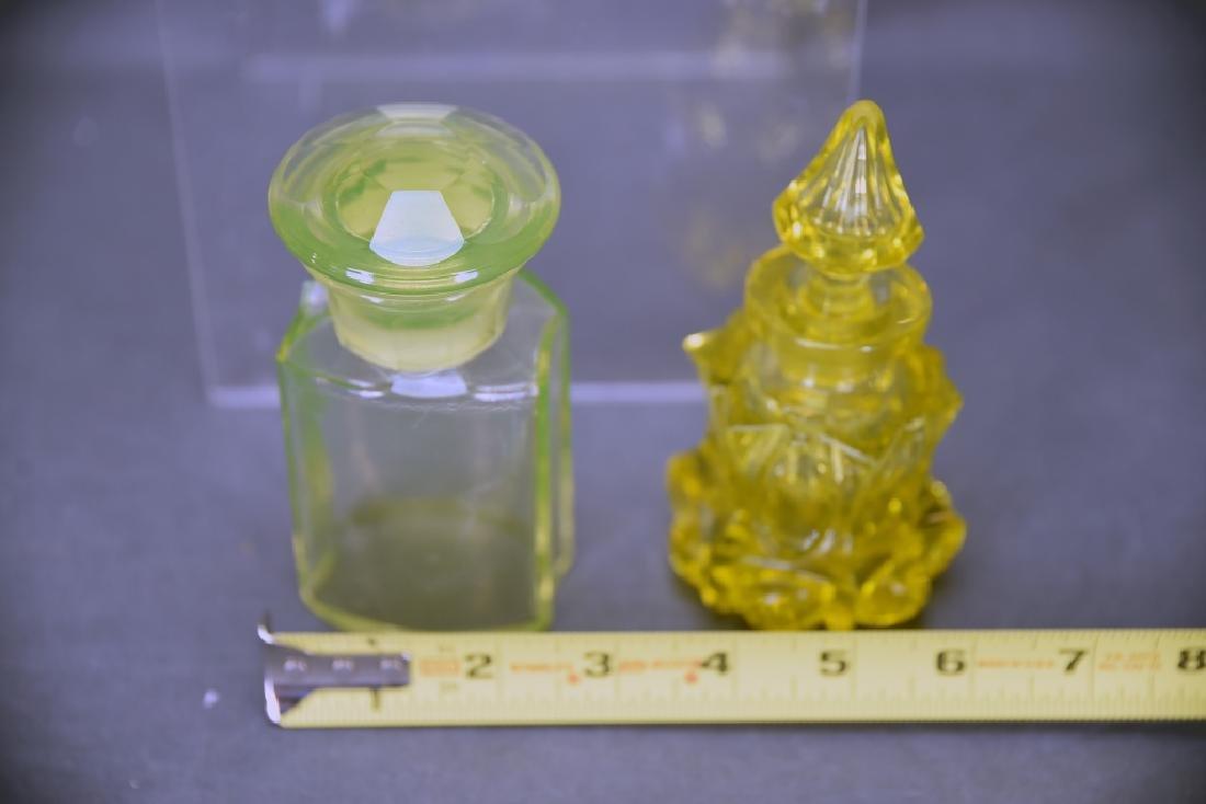 3 Pcs Yellow Victorian Glass, Perfume, Dresser Jar - 6