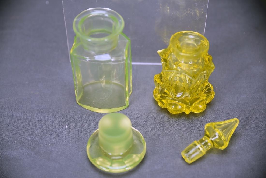 3 Pcs Yellow Victorian Glass, Perfume, Dresser Jar - 7
