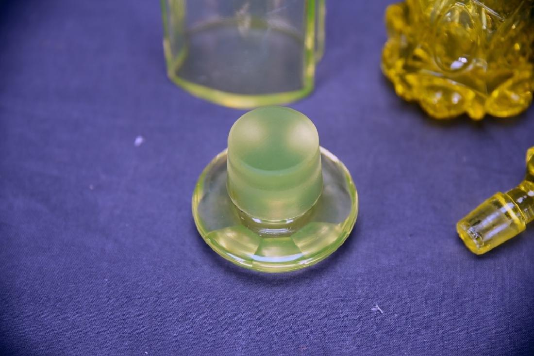 3 Pcs Yellow Victorian Glass, Perfume, Dresser Jar - 8