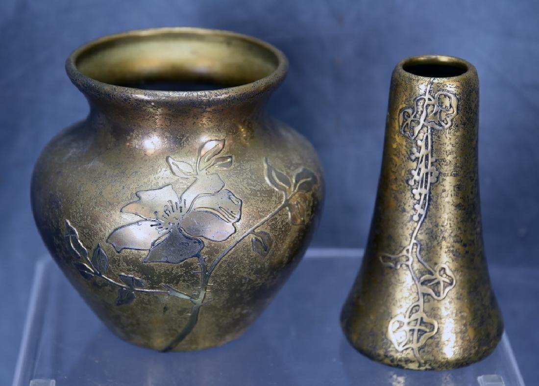 2 Heintz Art Metal Sterling on Bronze  Vases