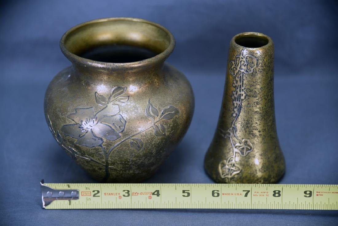 2 Heintz Art Metal Sterling on Bronze  Vases - 2