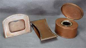 Heintz 3 Piece Sterling Over Bronze Desk Set