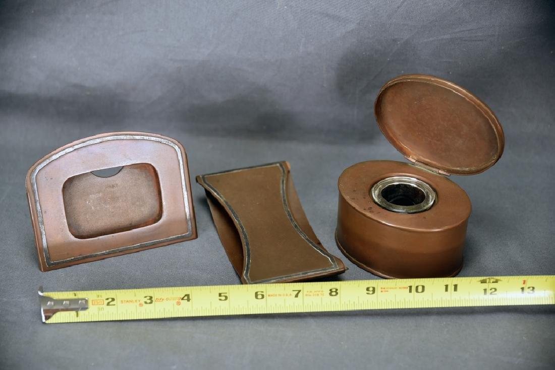 Heintz 3 Piece Sterling Over Bronze Desk Set - 2