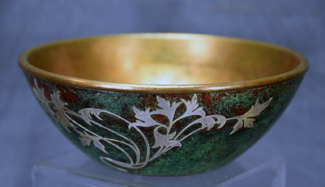 Sterling on Patinated Bronze Bowl, Unmarked