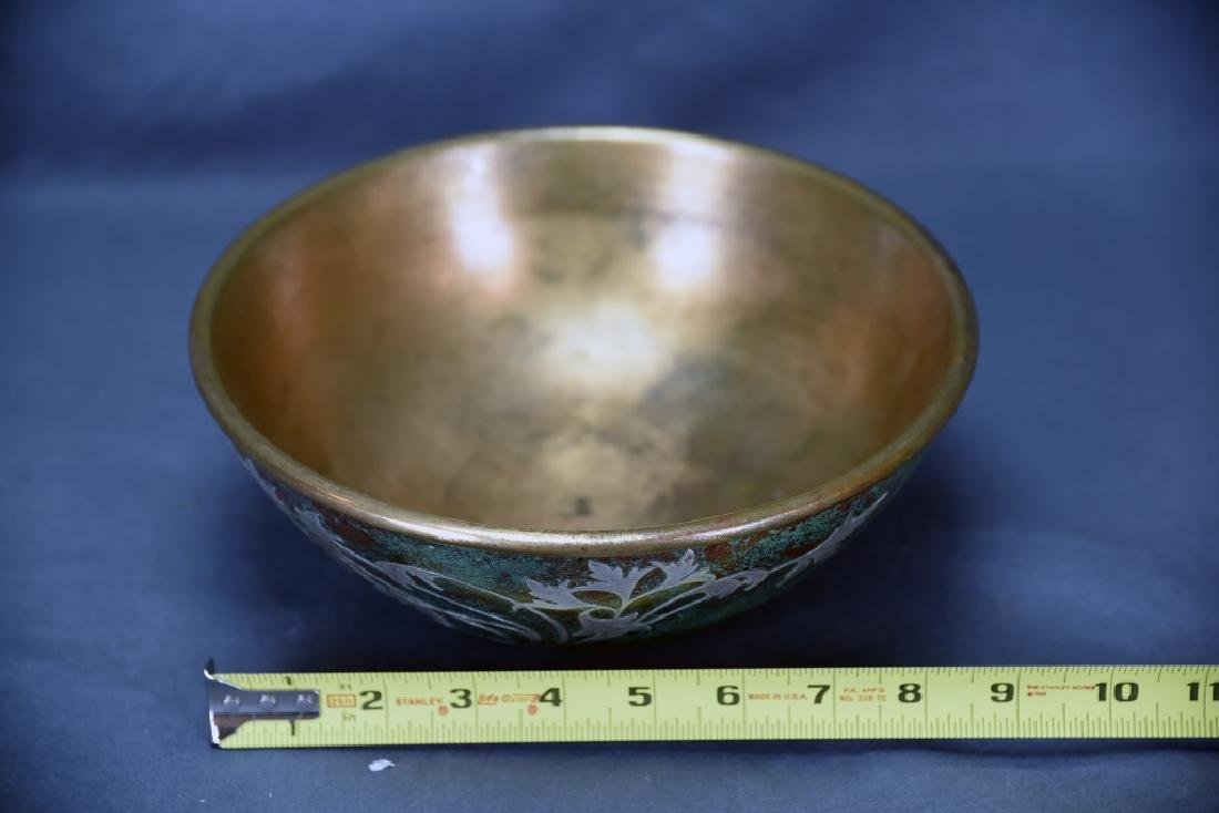 Sterling on Patinated Bronze Bowl, Unmarked - 2