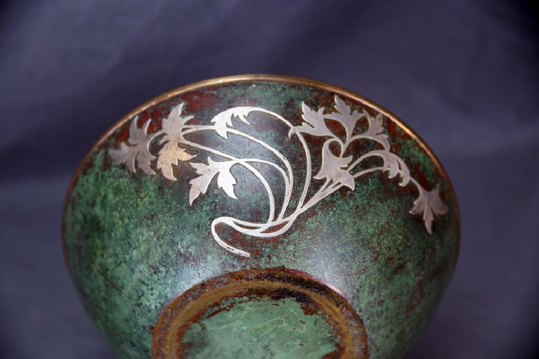 Sterling on Patinated Bronze Bowl, Unmarked - 3