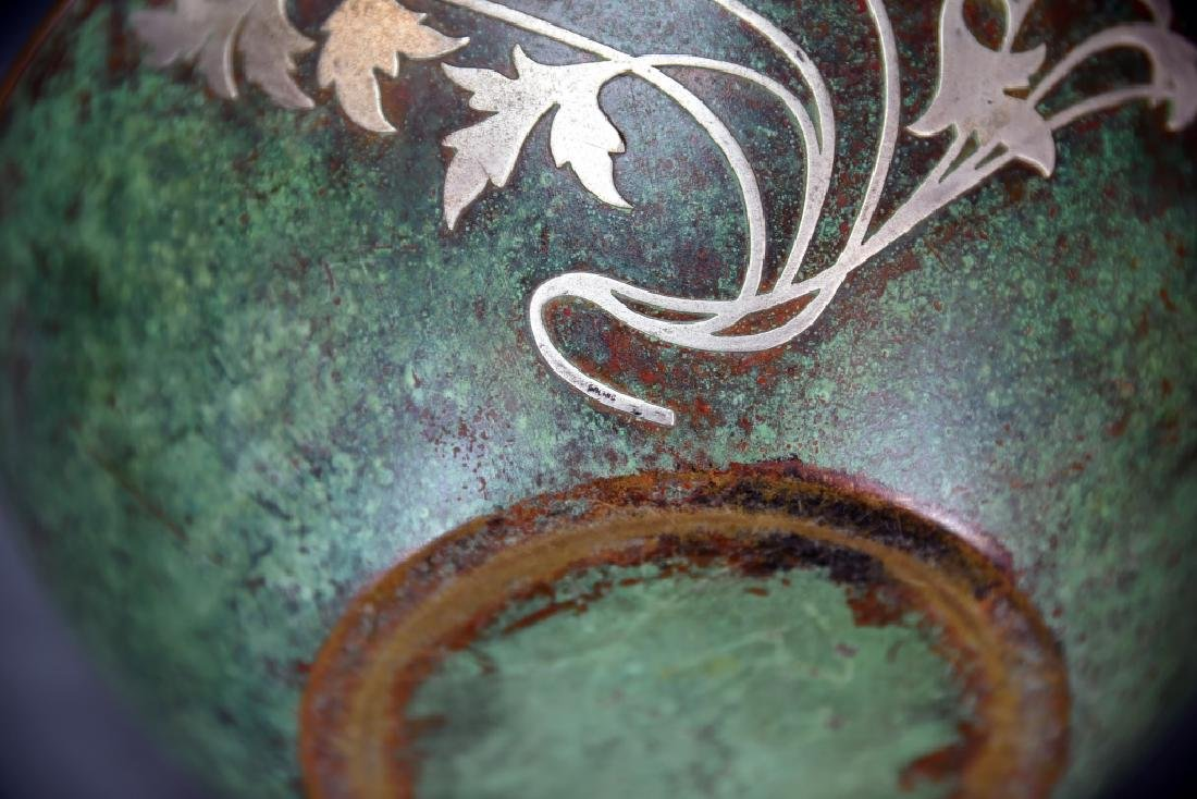 Sterling on Patinated Bronze Bowl, Unmarked - 4